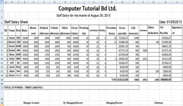 5 Free Salary Sheet Templates Word Excel Pdf Formats