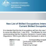 New Australian Skilled Occupation List (SOL) finally announced