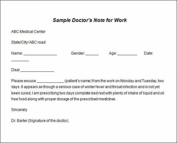 Doctor note templates - Word Excel PDF Formats