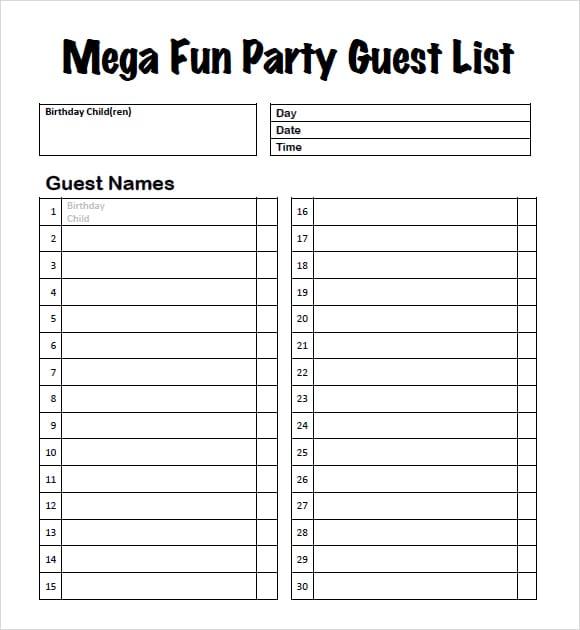 spreadsheet for wedding guest list