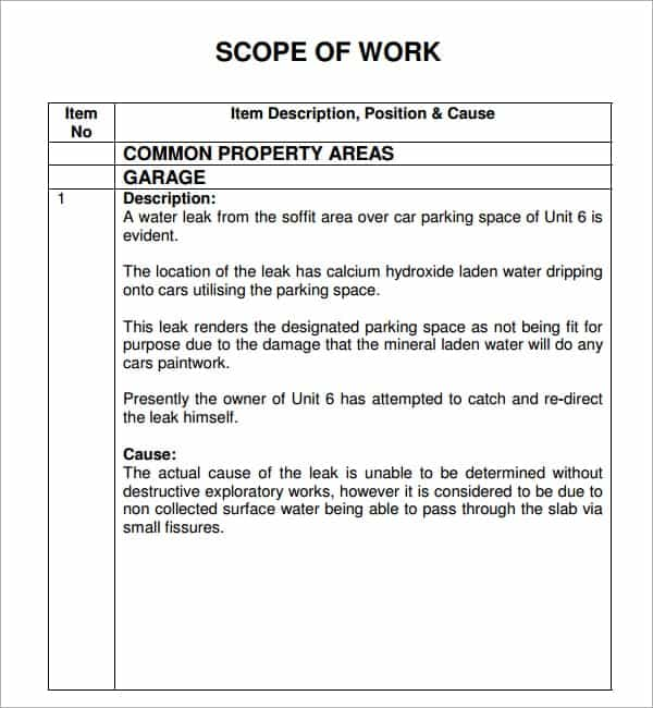 construction scope of work templates word excel pdf formats