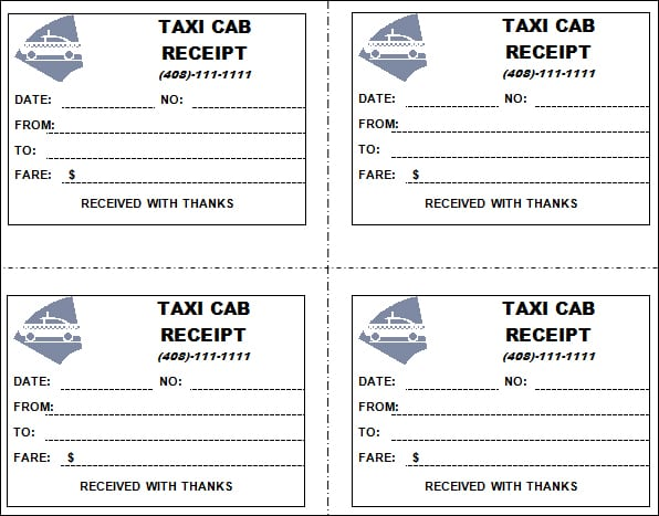 7+ Taxi receipt Templates - Word Excel PDF Formats