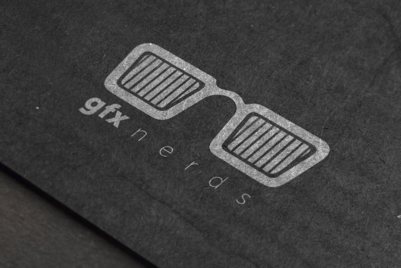 Black cardboard logo mockup