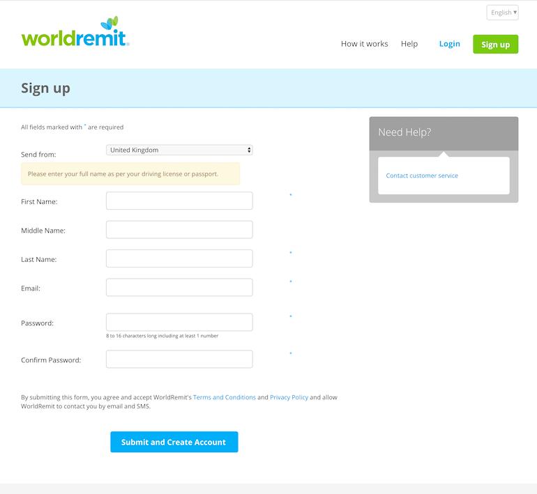 World Remit--Step 2