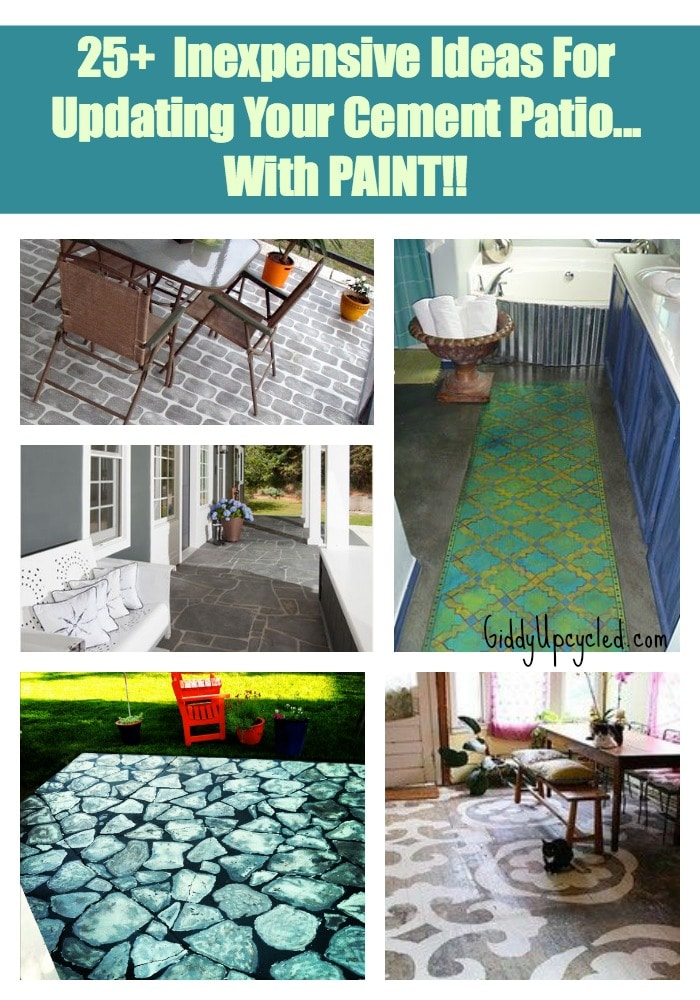 25 ideas for painting a cement slab or walkway giddy upcycled. Black Bedroom Furniture Sets. Home Design Ideas