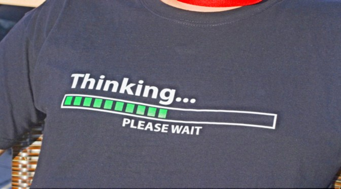 t-shirt with the word thinking