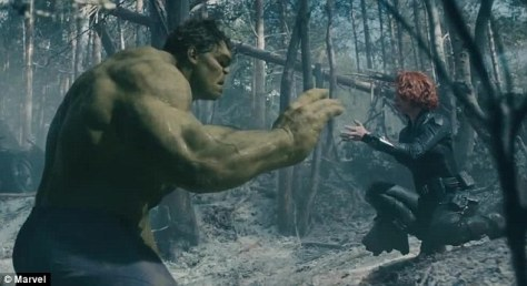 "Black Widow must calm The Hulk a few times with a ""lullaby""."