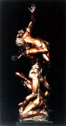 """Bronze représentant """"l'enlèvement d'une Sabine"""". Jean de Bologne, XVIe siècle."""