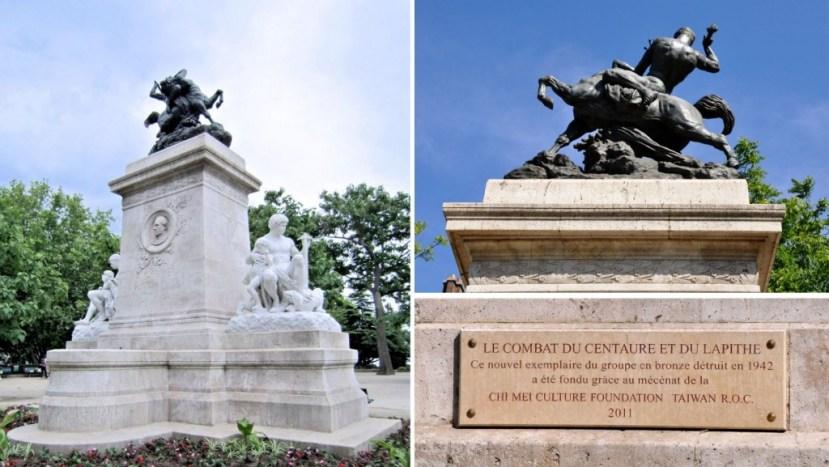 Le combat du Centaure et du Lapithe taille monumentale Square Barye offert par la Chi Mei