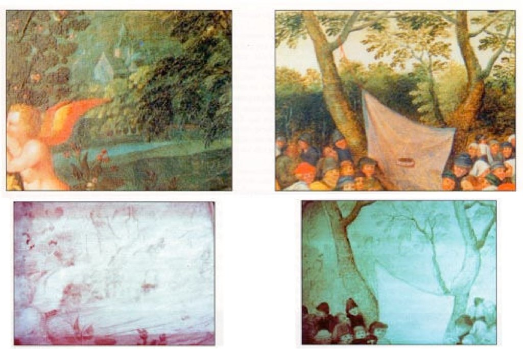 The low molecular density of the paint layers used by most of the 'primitive' Flemish or Italian artists enables examinations using infrared reflectography to often obtain excellent results, as was the case in the two paintings above, which show fragments of Flemish paintings from the 15th and 16th centuries viewed naturally and using infrared reflectography. The infrared rays enable us to discover the preparatory drawings, undetectable using any other process, and older restorations.