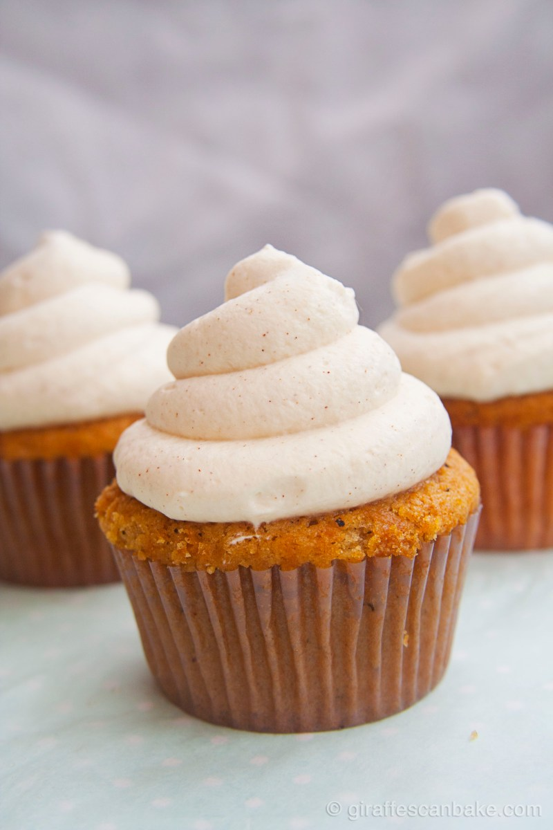 Peach Cupcakes with Creamy Cinnamon Frosting