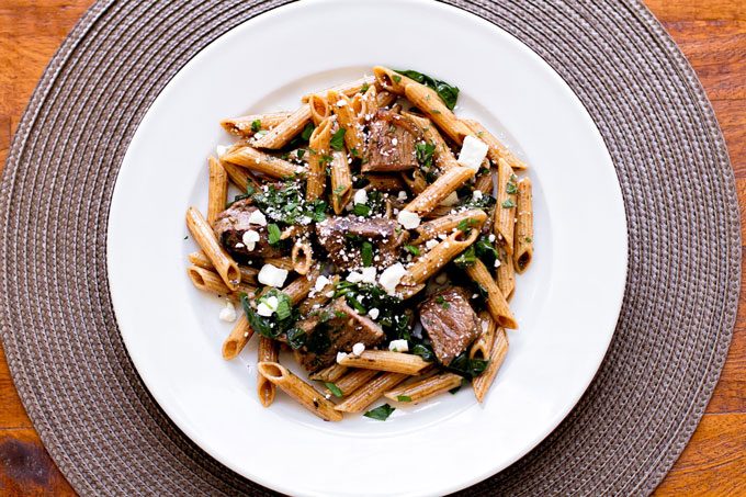 Pasta with Steak and Spinach