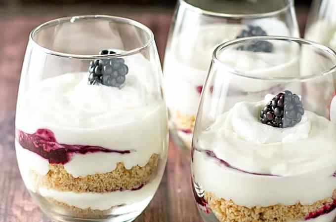 No Bake Cheesecake and Blackberry Parfaits | girlgonegourmet.com