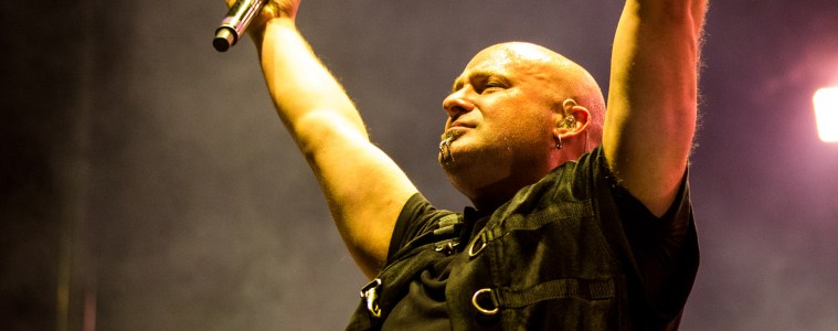 David Draiman of Disturbed on stage at Heavy Montreal 2016. Photo by Tim Snow