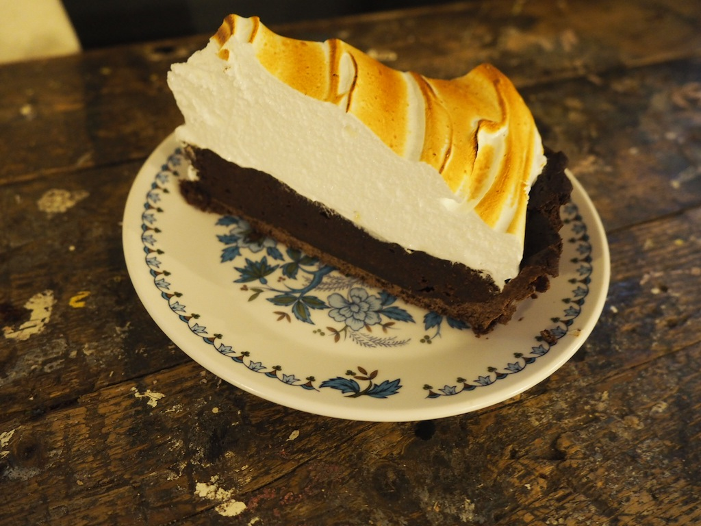 Chocolate brownie meringue pie at Lovecrumbs