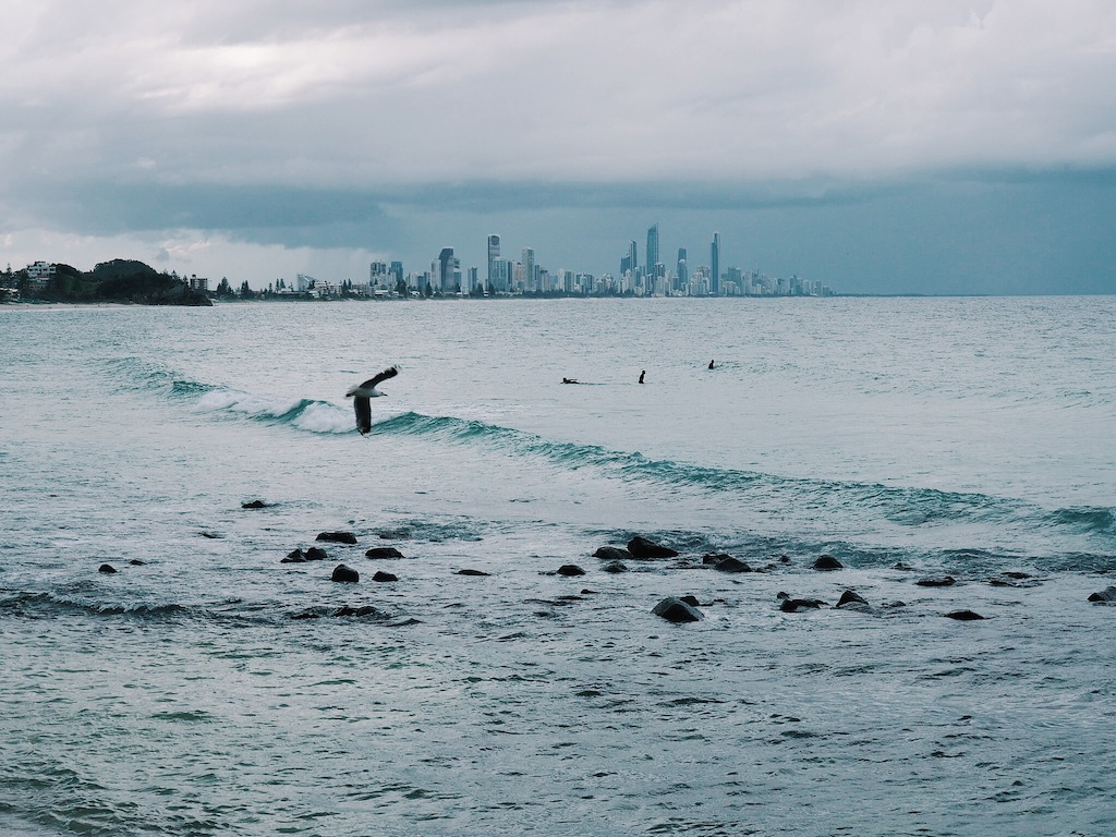 Moody weather disrupted our view of the Goldie from Burleigh Heads, you can imagine how pretty it would be on a clear day