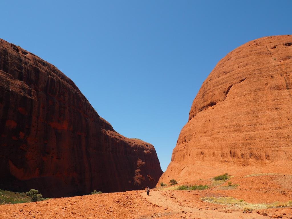 Big rocks, little me on the Walpa Gorge walk at Kata Tjuta