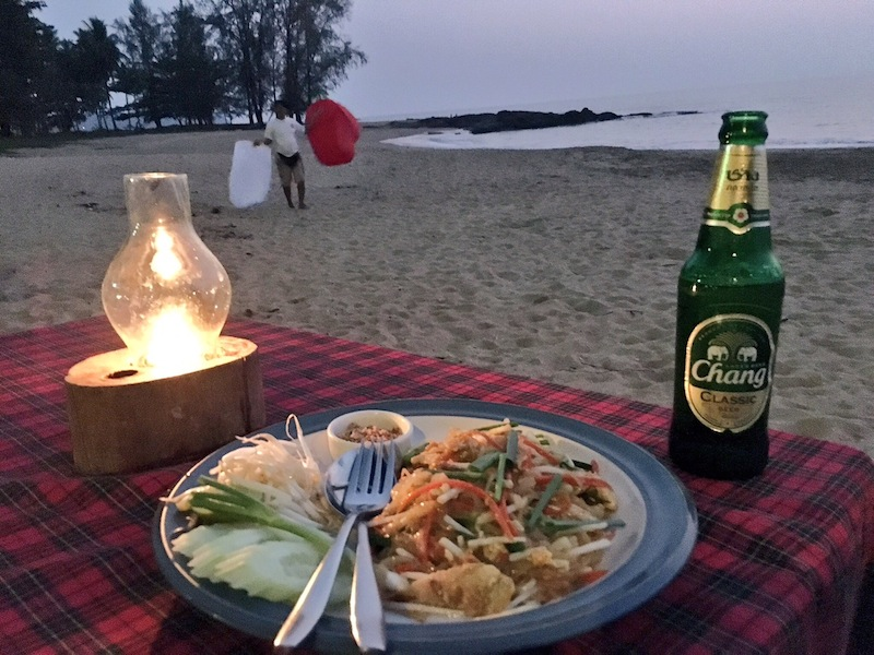 Dinner with your feet in the sand at Peter's Bar Khao Lak