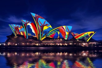 Songlines light installation on Sydney Opera House render impression by Artists in Motion inspired by artist Karla Dickens
