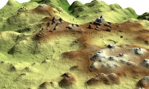 LiDAR 2.5-D image of Caracol epicenter.