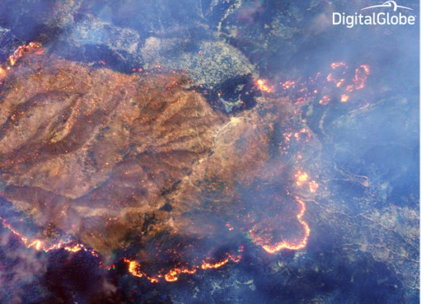 Further zoom around the burn area in which no smoke is visible.  Credit: Digitalglobe
