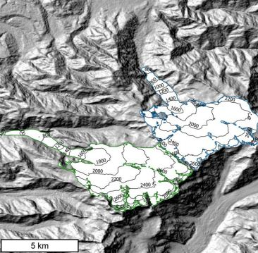Shaded relief showing Fox Glacier and Franz Josef Glacier located in the Southern Alps, New Zealand. Glacier extents are from the Randolph Glacier Inventory