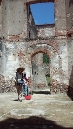 Courtesy of Christine Markussen CAST researcher Katie Simon conducts a ground-penetrating radar survey among the architectural ruins of the palace complex at San Souci, Haiti, as part of a SPARC-funded collaboration with Cameron Monroe of the University of California, Santa Cruz.