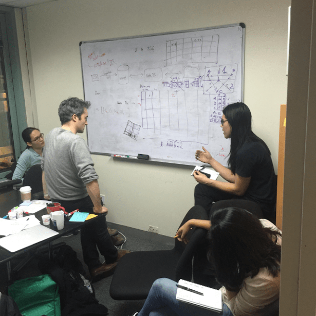 Google software engineers John Li and Zora Tung with UNICEF research scientist Manuel Garcia Herranz and UX designer Tanya Bhandari working on the open source data platform. Credit: Google Blog