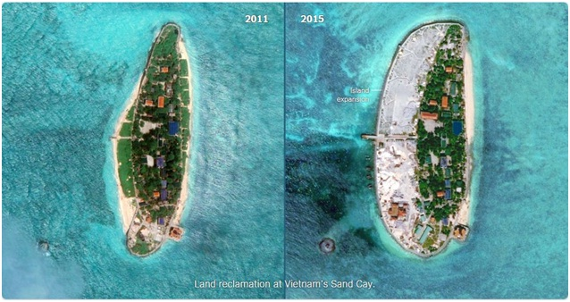 land reclamation on Sand Cay Island