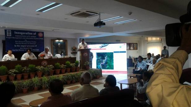 Minister of Railways launches one E-enabled application, namely, Project Management & Information System (PMIS) <br/>Credit: Subrata Chatterjee