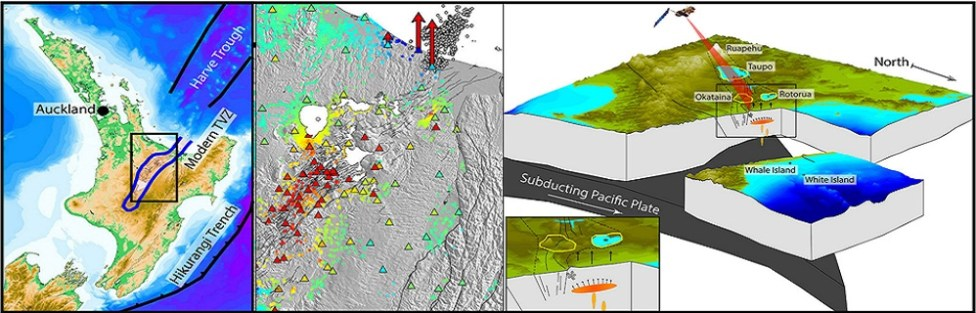 GPS and Satellite Radar Interferometry Indicate the Birth of a New Magma Body Beneath New Zealand