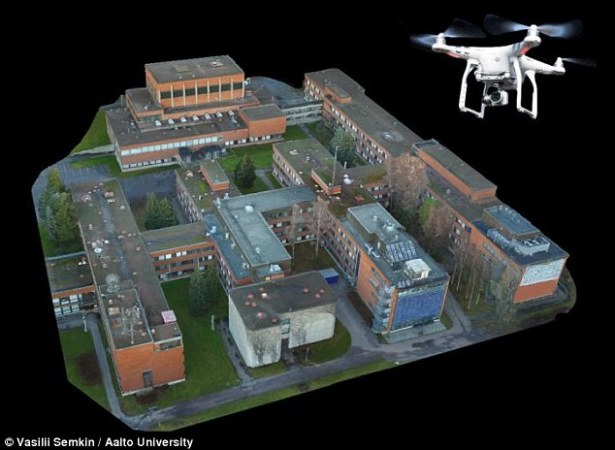 Researcher have devised a new method that involves taking aerial photographs of an area with a drone, which can be used as models to design radio links. Using the photographs and software that transforms 2D objects into 3D images models to design radio links Credit: dailymail.co.uk