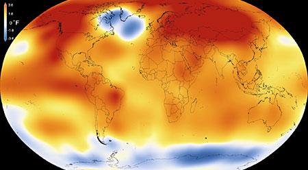 Global map of 2015 temperature