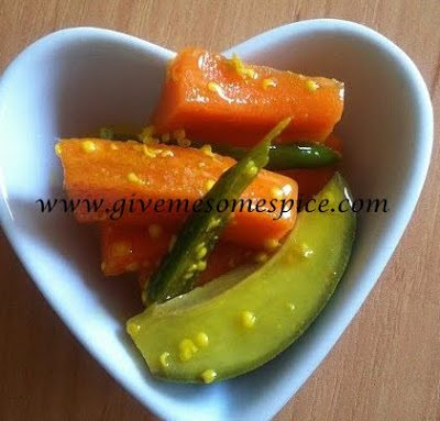 Carrots, raw mango and green chillies pickle with mustard (raita gajar, marcha & keri)