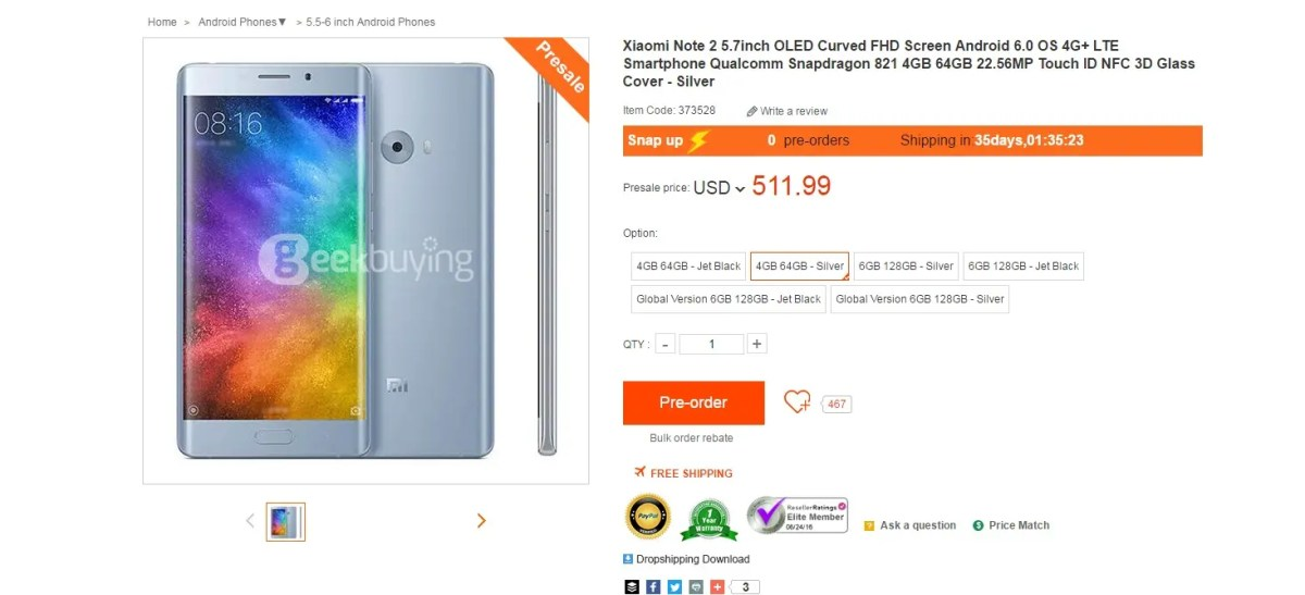 Xiaomi Mi Note 2 already on preorder at Geekbuying