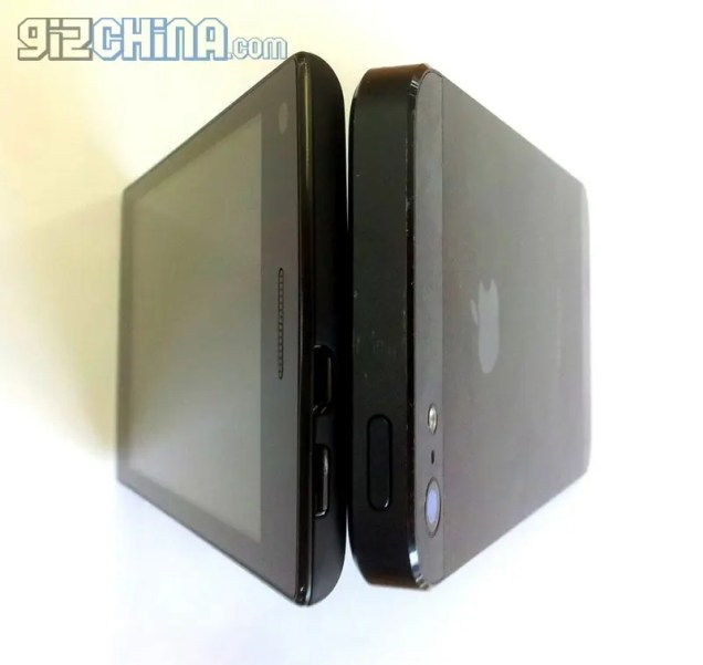 Umeox X5 5.6mm side by side with iPhone 5