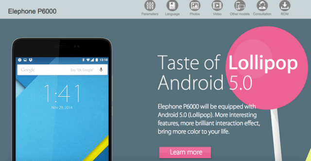 elephone p6000 Android 5.0 NOT shipping on Elephone P6000!
