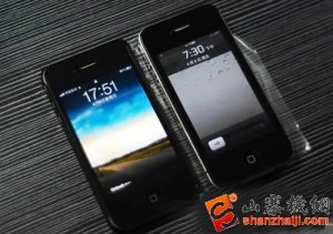 iphone 4 clone and real iphone 4 300x211 Android A8 iPhone 4 Clone Gets Dual SIM and iOS UI