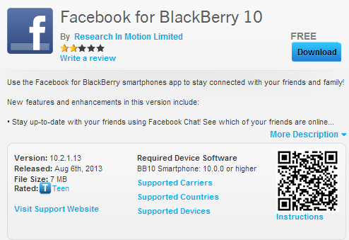 Facebook updated to v10.2.1 for Blackberry 10