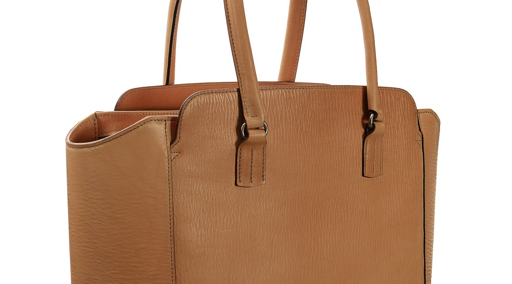 Hand-grained,-natural-City-Tote-with-turquoise-lining;-16-x-12-x-6'-small