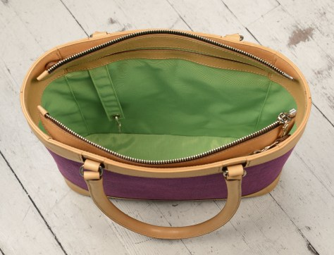 Hand-burnished-natural-leather-Business-Tote-with-hand-colored-violetta-linen-and-lime-green-lining;-17-x-13-x-4'-topdown2