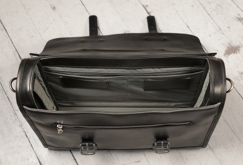 Hand-burnished-black-Headhunter-Flaptop-Bag;-16-x-12-x-4-topdown2