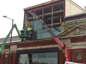 Curtain walling installation in Manchester