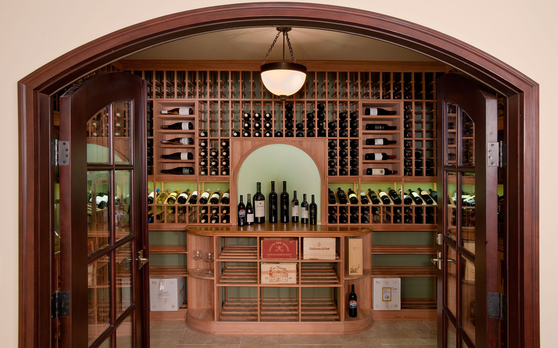 Graceful Wine Cellar Doors Ontario Wine Cellar Doors Dallas Tx Custom Interior Arched Clear Glass Winecellar Interior Solid Mahogany Wood Bevel houzz 01 Wine Cellar Doors