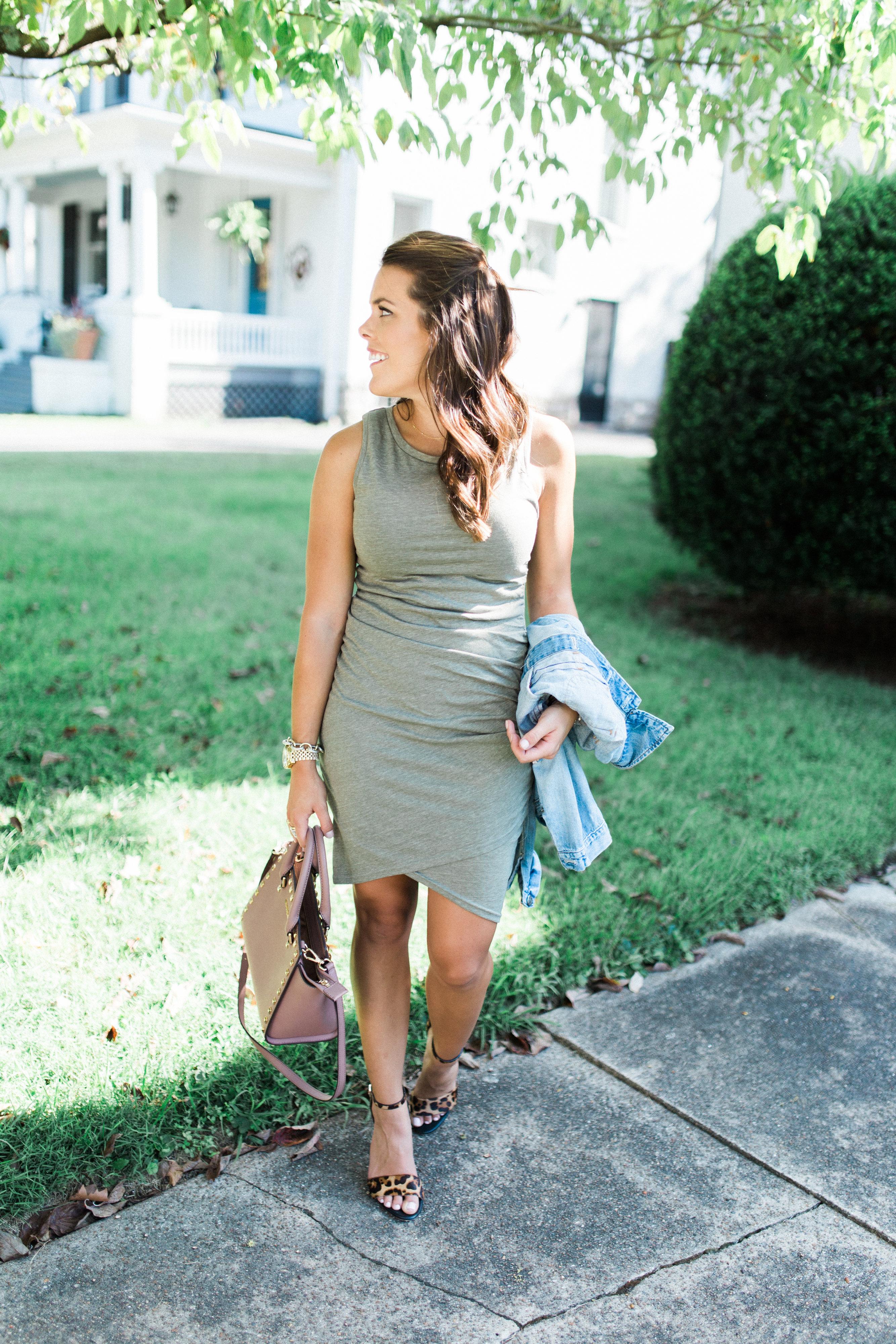 Easy Body Con Dress // Nordstrom Dress, Leopard Sandals, Denim Jacket, Michael Kors Bag via Glitter & Gingham