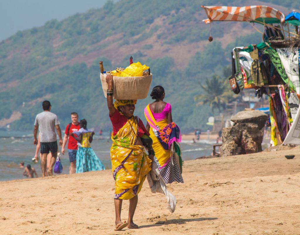 Fruit seller on Anjuna Beach in Goa