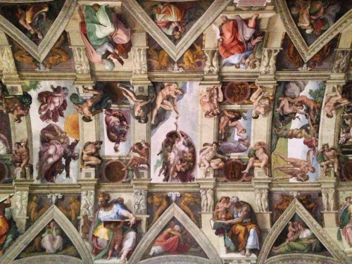 The fabulous frescoed ceiling of the Sistine Chapel