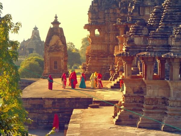 Sunset at the temples of Khajuraho