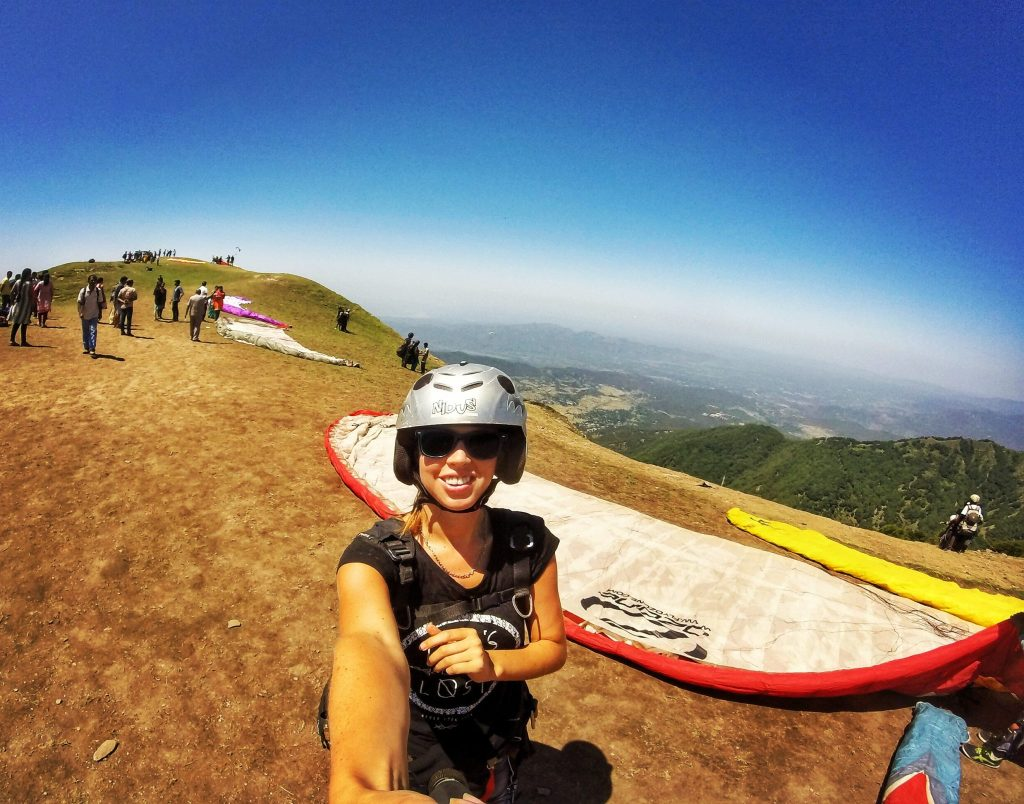 About to take off for paragliding in Bir Billing, India