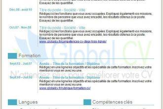 Exemple de CV téléchargeable cyan